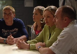 Boyd Hoyland, Janae Timmins, Janelle Timmins, Kim Timmins in Neighbours Episode 4862