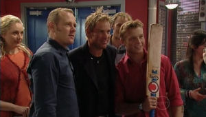 Janelle Timmins, Max Hoyland, Shane Warne, Boyd Hoyland in Neighbours Episode 5005