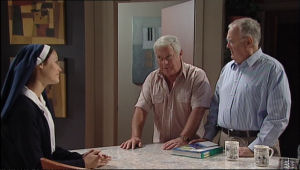 Carmella Cammeniti, Harold Bishop, Lou Carpenter in Neighbours Episode 5013