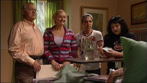 Harold Bishop, Janelle Timmins, Stingray Timmins, Bree Timmins in Neighbours Episode 5015