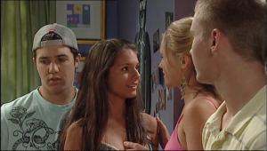 Boyd Hoyland, Janae Timmins, Rachel Kinski, Stingray Timmins in Neighbours Episode 5020
