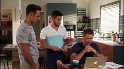 Aaron Brennan, David Tanaka, Mark Brennan in Neighbours Episode 8119