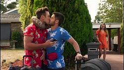 Aaron Brennan, David Tanaka, Chloe Brennan in Neighbours Episode 8121