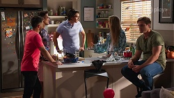 David Tanaka, Aaron Brennan, Leo Tanaka, Chloe Brennan, Kyle Canning in Neighbours Episode 8137