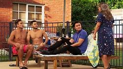 Aaron Brennan, David Tanaka, Leo Tanaka, Terese Willis in Neighbours Episode 8148