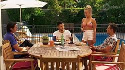 Leo Tanaka, David Tanaka, Roxy Willis, Aaron Brennan in Neighbours Episode 8148