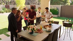 Paul Robinson, Terese Willis, Aaron Brennan, Ned Willis, Harlow Robinson, David Tanaka in Neighbours Episode 8153