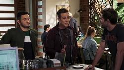 David Tanaka, Aaron Brennan, Ned Willis in Neighbours Episode 8173