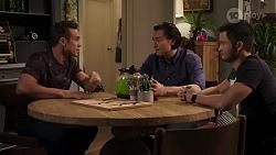 Aaron Brennan, Leo Tanaka, David Tanaka in Neighbours Episode 8173