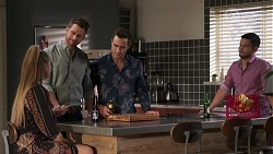 Chloe Brennan, Mark Brennan, Aaron Brennan, David Tanaka in Neighbours Episode 8177