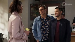Elly Conway, Aaron Brennan, David Tanaka in Neighbours Episode 8183