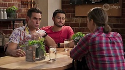 Aaron Brennan, David Tanaka, Amy Williams in Neighbours Episode 8186