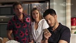 Aaron Brennan, Amy Williams, David Tanaka in Neighbours Episode 8190