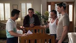 David Tanaka, Aaron Brennan, Bea Nilsson, Finn Kelly in Neighbours Episode 8194