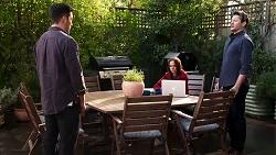 Shaun Watkins, Bea Nilsson, Finn Kelly in Neighbours Episode 8198