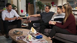 Pierce Greyson, Aaron Brennan, David Tanaka, Chloe Brennan in Neighbours Episode 8199