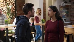 Ned Willis, Scarlett Brady, Yashvi Rebecchi in Neighbours Episode 8202