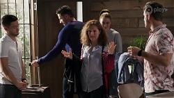 David Tanaka, Pierce Greyson, Fay Brennan, Chloe Brennan, Aaron Brennan in Neighbours Episode 8206