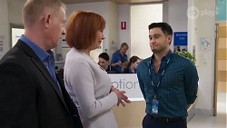 Clive Gibbons, Beverly Robinson, David Tanaka in Neighbours Episode 8215