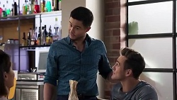 Elly Conway, David Tanaka, Aaron Brennan in Neighbours Episode 8215