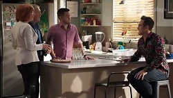 Beverly Robinson, Clive Gibbons, David Tanaka, Aaron Brennan in Neighbours Episode 8215