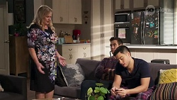 Sheila Canning, Aaron Brennan, David Tanaka in Neighbours Episode 8216