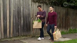 Aaron Brennan, David Tanaka in Neighbours Episode 8216