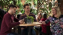 David Tanaka, Aaron Brennan, Sheila Canning in Neighbours Episode 8216