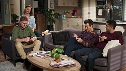 Kyle Canning, Amy Williams, Aaron Brennan, David Tanaka in Neighbours Episode 8217