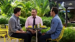 Finn Kelly, Toadie Rebecchi, Aaron Brennan in Neighbours Episode 8233