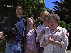 Sam Kratz, Libby Kennedy, Brett Stark, Marlene Kratz in Neighbours Episode 2358
