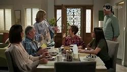 Elly Conway, Karl Kennedy, Claudia Watkins, Susan Kennedy, Bea Nilsson, Finn Kelly in Neighbours Episode 8252