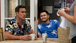 Aaron Brennan, David Tanaka, Elly Conway in Neighbours Episode 8278
