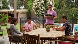 Elly Conway, David Tanaka, Kyle Canning, Aaron Brennan in Neighbours Episode 8279