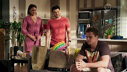 Elly Conway, David Tanaka, Kyle Canning in Neighbours Episode 8296