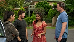 Yashvi Rebecchi, Ned Willis, Dipi Rebecchi, Kyle Canning in Neighbours Episode 8300