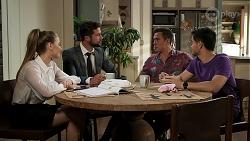 Chloe Brennan, Mark Brennan, Aaron Brennan, David Tanaka in Neighbours Episode 8301