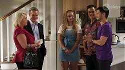 Lucy Robinson, Paul Robinson, Harlow Robinson, Aaron Brennan, David Tanaka in Neighbours Episode 8301