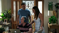 Finn Kelly, Karl Kennedy, Bea Nilsson in Neighbours Episode 8308