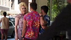 Courtney Act, Aaron Brennan, David Tanaka in Neighbours Episode 8309
