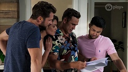 Mark Brennan, Paige Smith, Aaron Brennan, David Tanaka in Neighbours Episode 8321
