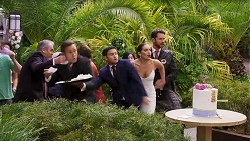 Karl Kennedy, Aaron Brennan, David Tanaka, Paige Smith, Mark Brennan in Neighbours Episode 8322