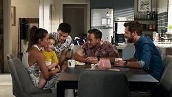 Paige Smith, Gabriel Smith, David Tanaka, Aaron Brennan, Mark Brennan in Neighbours Episode 8324