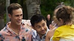 Aaron Brennan, David Tanaka, Paige Smith, Gabriel Smith in Neighbours Episode 8324