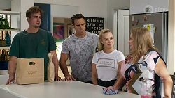 Kyle Canning, Aaron Brennan, Roxy Willis, Sheila Canning in Neighbours Episode 8327