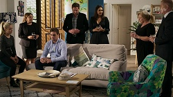 Roxy Willis, Terese Willis, Kyle Canning, Shane Rebecchi, Dipi Rebecchi, Sheila Canning, Clive Gibbons in Neighbours Episode 8330