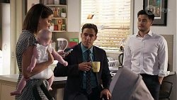 Elly Conway, Aster Conway, Aaron Brennan, David Tanaka in Neighbours Episode 8331