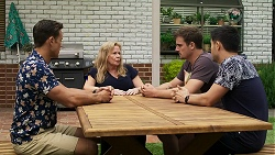 Aaron Brennan, Sheila Canning, Kyle Canning, David Tanaka in Neighbours Episode 8335