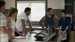 Kyle Canning, Chloe Brennan, Pierce Greyson, Aaron Brennan, David Tanaka in Neighbours Episode 8344