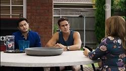 David Tanaka, Aaron Brennan, Terese Willis in Neighbours Episode 8344